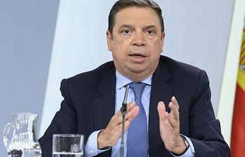El ministro de Agricultura, Pesca y Alimentación en funciones, Luis Planas, durante su intervención en la rueda de prensa posterior al Consejo de Ministros.
