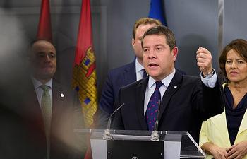 El presidente de Castilla-La Mancha, Emiliano García-Page, visita el Ayuntamiento de Albacete y se reúne con el alcalde, Vicente Casañ. Foto: Manuel Lozano García / La Cerca