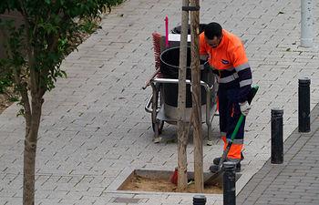 Los servicios de limpieza siguen funcionando en Albacete. Foto: Manuel Lozano Garcia / La Cerca