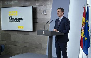 El presidente del Gobierno, Pedro Sánchez, durante la rueda de prensa telemática convocada tras la reunión del Consejo de Ministros.