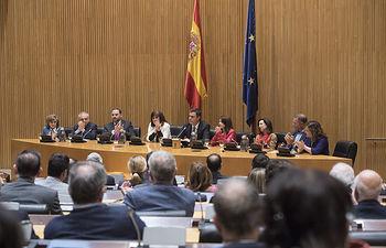 El secretario general, Pedro Sánchez interviene en la reunión del GPS, Grupo Parlamentario Socialista, en el Congreso de los Diputados.
