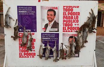 Garzón denuncia que la publicidad de IU ha amanecido 'decorada' con 16 conejos muertos en un pueblo de Toledo. Foto: Twitter @agarzon