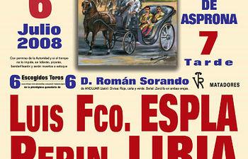 Nuevo cartel de la corrida aplazada de ASPRONA que se celebrará definitivamente el 6 de julio de 2008.