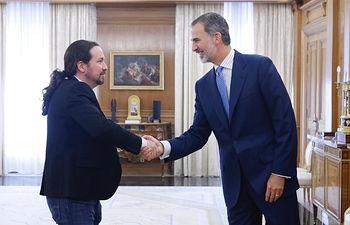 Su Majestad el Rey recibe el saludo del representante de Podemos (Unidas Podemos), Pablo Iglesias Turrión  Palacio de La Zarzuela. Madrid, 17.09.2019. Foto: Casa de S.M. el Rey
