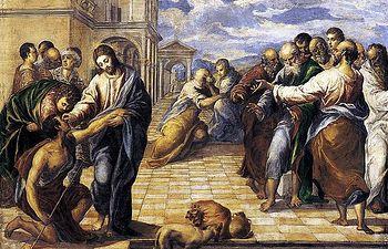 La curacion del ciego (1567) El Greco. Se conserva en la Gemäldegalerie de Dresde.