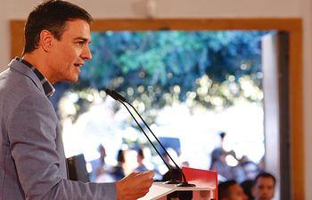 Pedro Sánchez en un acto en Huelva.