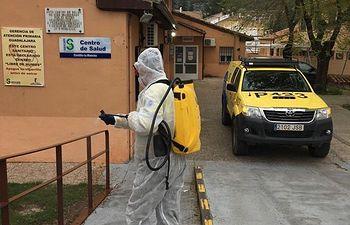 Coronavirus- Desinfección en pueblos de Gualadajara.