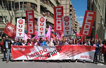 Carlos Pedrosa en la Manifestacion 1º de Mayo 2018 en Albacete.