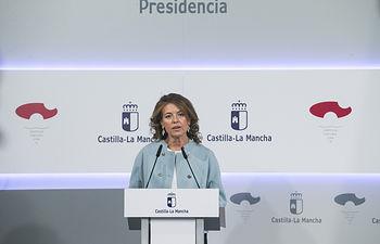 La consejera de Bienestar Social, Aurelia Sánchez, informa, sobre los acuerdos del Consejo de Gobierno en el Palacio de Fuensalida.(Fotos: Ignacio López//JCCM)