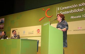 La consejera de Industria, Energía y Medio Ambiente, Paula Fernández, ha clausurado en Albacete la II Convención de Cambio Climático y Sostenibilidad de España.