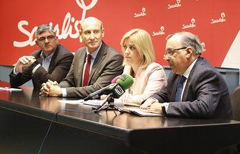 Rueda de prensa en la sede del PSOE de Cuenca.
