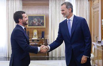 Su Majestad el Rey recibe el saludo del representante del Partido Popular (PP), Pablo Casado Blanco  Palacio de La Zarzuela. Madrid, 17.09.2019. Foto: Casa de S.M. el Rey