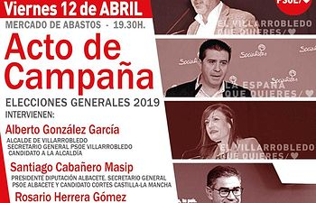 Acto público del Partido Socialista en Villarrobledo.