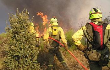 El Ministerio de Agricultura, Alimentación y Medio Ambiente envía 9 aeronaves al incendio declarado en Cualedro (Ourense). Foto: Ministerio de Agricultura, Alimentación y Medio Ambiente