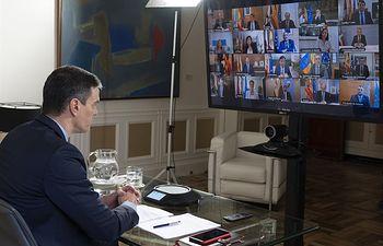 15/03/2020 El presidente del Gobierno, Pedro Sánchez, durante la videoconferencia para tratar la crisis del coronavirus con los presidentes autonómicos, en Madrid (España), a 15 de marzo de 2020...ESPAÑA EUROPA MADRID SALUD..SECRETARÍA DE ESTADO DE COMUNICACIÓN..