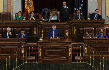 Aitor Esteban, portavoz del Grupo Parlamentario Vasco (EAJ-PNV) en el Congreso, durante su intervención en la Sesión de Investidura. Foto: David Corral [POVEDANO FOTOGRAFOS]