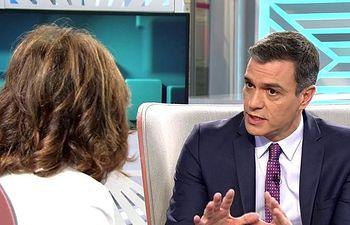 Pedro Sánchez en el programa de Ana Rosa. Foto: Telecinco.