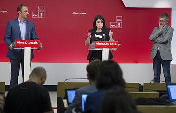 Rueda de prensa de Adriana Lastra, Gómez de Célis y Hugo Morán