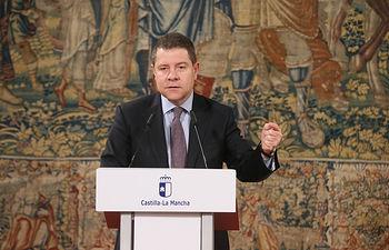 El presidente regional, Emiliano García-Page, preside, en el Palacio de Fuensalida, el acto de presentación del Plan de Infraestructuras Sociales de la Junta de Comunidades para Castilla-La Mancha en el período 2018-2020. (Fotos: Ignacio López // JCCM)