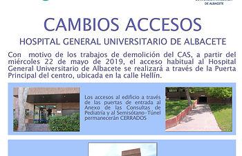 Cambios en los accesos al Hospital General Universitario de Albacete