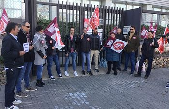 Huelga iniciada por los trabajadores de Amaranto en Toledo. Foto: UGT.