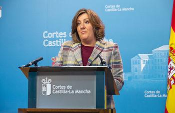 La consejera de Economía, Empresas y Empleo, Patricia Franco, comparece en la comisión de Presupuestos de las Cortes de Castilla-La Mancha. (Foto: A. Pérez Herrera // JCCM).