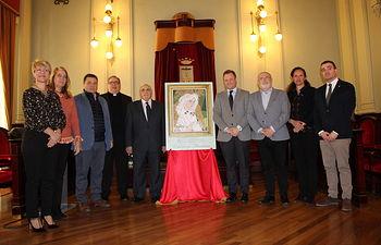 Presentación del cartel realizado por el pintor Francisco Ayuso, en el salón de actos del Museo Municipal de Albacete.