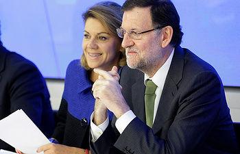Mariano Rajoy junto a María Dolores de Cospedal. Foto de Archivo.