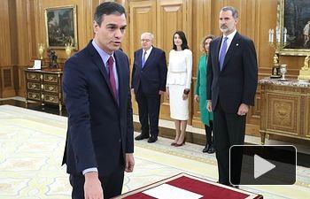 Pedro Sánchez promete ante el Rey su cargo como Presidente del Gobierno. Foto: @CasaReal.
