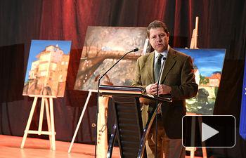 Emiliano García-Pag durante la inauguración del nuevo Auditorio Municipal de Villalba del Rey (Cuenca)