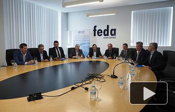 El presidente de Cecam, Ángel Nicolás, y el presidente de Feda y vicepresidente de Cecam, Artemio Pérez, antes de la reunión del Comité Ejecutivo de la Confederación, en Feda.