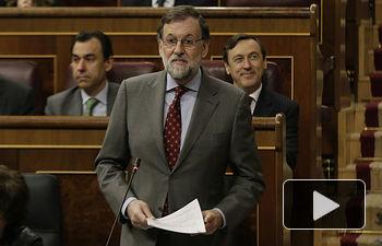 El presidente del Gobierno, Mariano Rajoy, durante su intervención en la sesión de control al Gobierno que se celebra en el Congreso de los Diputados.