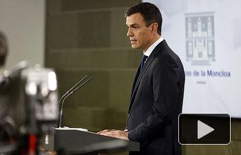El presidente del Gobierno, Pedro Sánchez, ha comparecido en La Moncloa para anunciar la composición de su Gabinete.