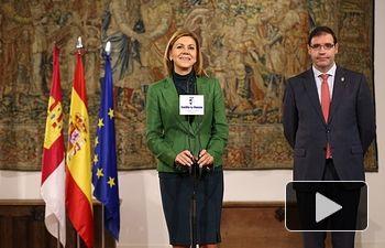 María Dolores Cospedal se reúne con el presidente de la Diputación de Cuenca, Benjamín Prieto.