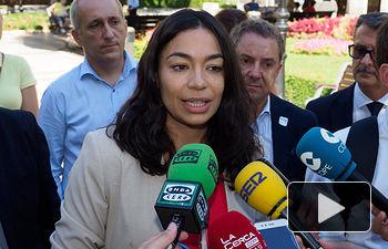 Claudia Alonso durante su visita a Albacete