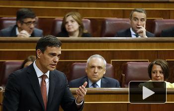 El presidente del Gobierno, Pedro Sánchez, durante su intervención en la sesión de control en el Congreso de los Diputados.