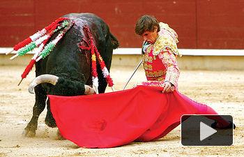 Miguel Tendero demostró valor y ganas en Albacete. Tanto buscó el éxito que el toro le cogió recibiendo dos cornadas.