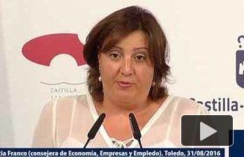 JCCM: Rueda de prensa del Consejo de Gobierno. Consejera de Economía, Empresas y Empleo.