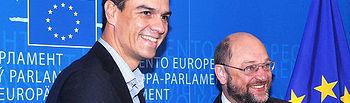 Pedro Sánchez y el presidente del Parlamento Europeo, Martin Schulz