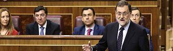 El presidente del Gobierno, Mariano Rajoy, durante su intervención en la sesión de control al Ejecutivo celebrada en el Congreso de los Diputados.