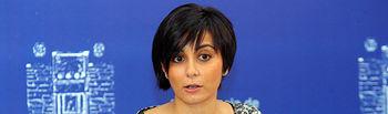 La portavoz del Gobierno de Castilla-La Mancha, Isabel Rodríguez, durante la rueda de prensa en la que ha informado sobre los acuerdos del Consejo de Gobierno en la sede de la Presidencia regional en Toledo.