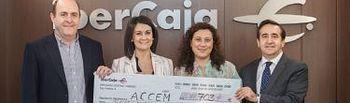 Entrega del cheque a ACCEM con la recaudación del festival de jotas de Ferias
