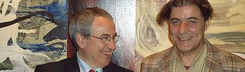 """Novillo y Barnés en la exposición """"360º en espiral. Drowning by painting"""" en el Museo de Santa Cruz"""