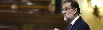 El presidente del Gobierno, Mariano Rajoy, durante su intervención en el debate de la moción de censura al Gobierno.