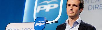 Pablo Casado durante su intervención en rueda de prensa