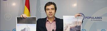Lorenzo Robisco  muestra dos fotografías con el buen ritmo de las obras del Palacio de Justicia y las obras del Hospital paradas.