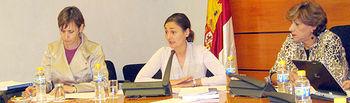 La consejera de Empleo, Igualdad y Juventud, María Luz Rodríguez (c), durante la Comisión de la Mujer de las Cortes de Castilla-La Mancha donde compareció para presentar el Informe Anual de la Ley de Prevención de Malos Tratos y de Protección a Mujeres Maltratadas correspondiente a 2009, junto a la directora general de Igualdad, Ana de la Hoz (i).
