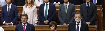 El Congreso de los Diputados ha guardado un minuto de silencio en memoria de las víctimas de los atentados de Barcelona y Cambrils (Tarragona), antes de comenzar el Pleno extraordinario.