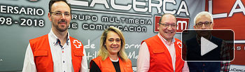 De Izquierda a derecha: Juan Carlos Pan Mendoza, Voluntario de empleo de Cruz Roja Albacete; Rosa Torres Cano, Coordinadora Plan de Empleode Cruz Roja Albacete;.Francisco Gómez Moreno, Técnico de Empleo de Cruz Roja Albacete; y Manuel Lozano, director del Grupo Multimedia de Comunicación La Cerca