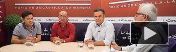 De izquierda a derecha: Julián Morcillo, secretario general de UPA Castilla-La Mancha, Juan Miguel Cebrián, vicepresidente provincial de ASAJA Albacete, Manuel Miranda, director provincial de Agricultura en Albacete, y Manuel Lozano, director General del Grupo Multimedia de Comunicación La Cerca.
